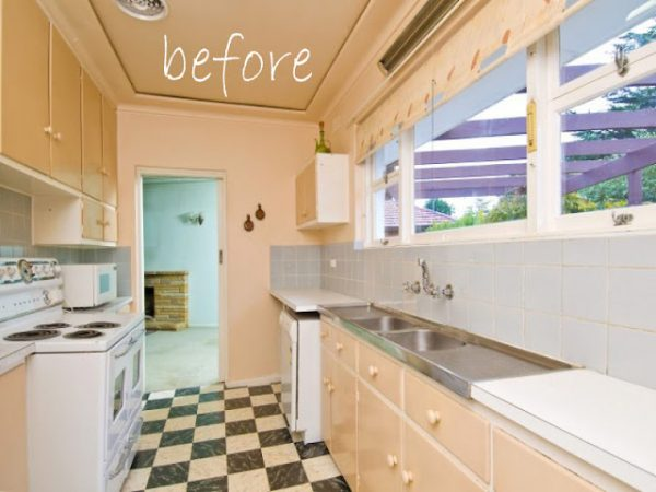 Remodelaholic classically beautiful galley kitchen for Galley kitchen remodel before and after
