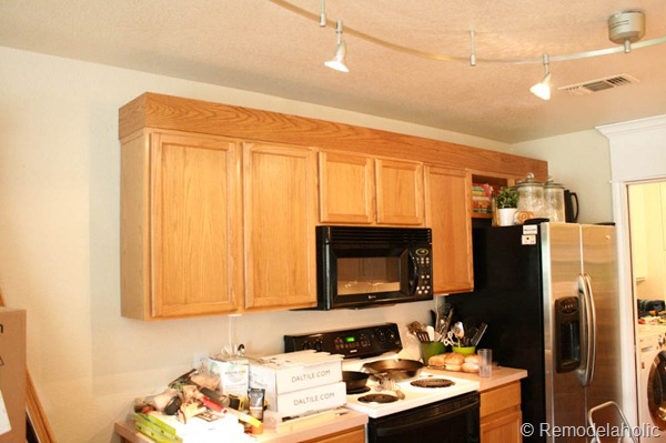 Upgrade builder grade oak cabinets without painting diy for Kitchen cabinets upgrade
