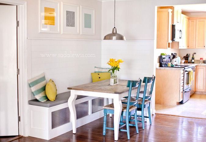 Get this look sunny corner banquette remodelaholic for Kitchen banquette table
