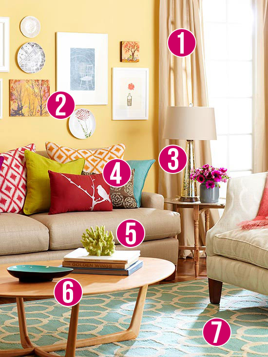 Get this look color me casual living room for Casual curtain ideas for living room