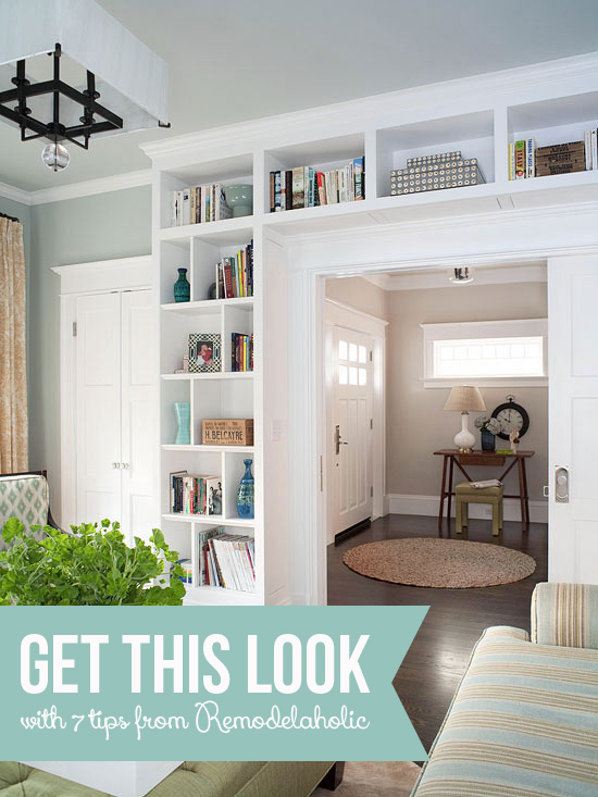 Get this look living room built in shelves Built in shelves living room