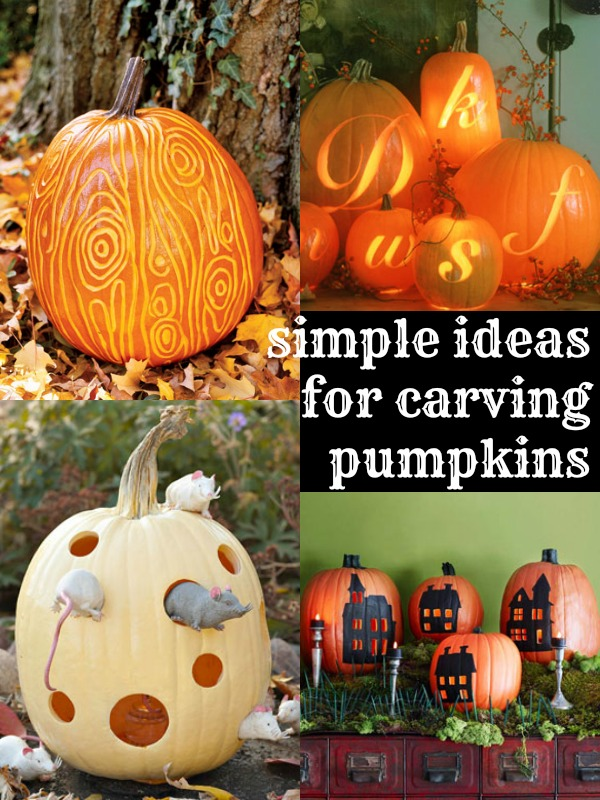 6 Simple Pumpkin Carving Ideas via Tipsaholic.com #halloween #pumpkins #pumpkincarving #keepitsimple