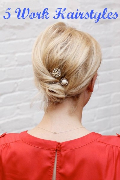 Need some new inspiration for work hairstyles? Here are five ways to do your hair for work with a professional flair. 5 Work Hairstyles via tipsaholic.com #work #hair #beauty #hairstyles #workhair