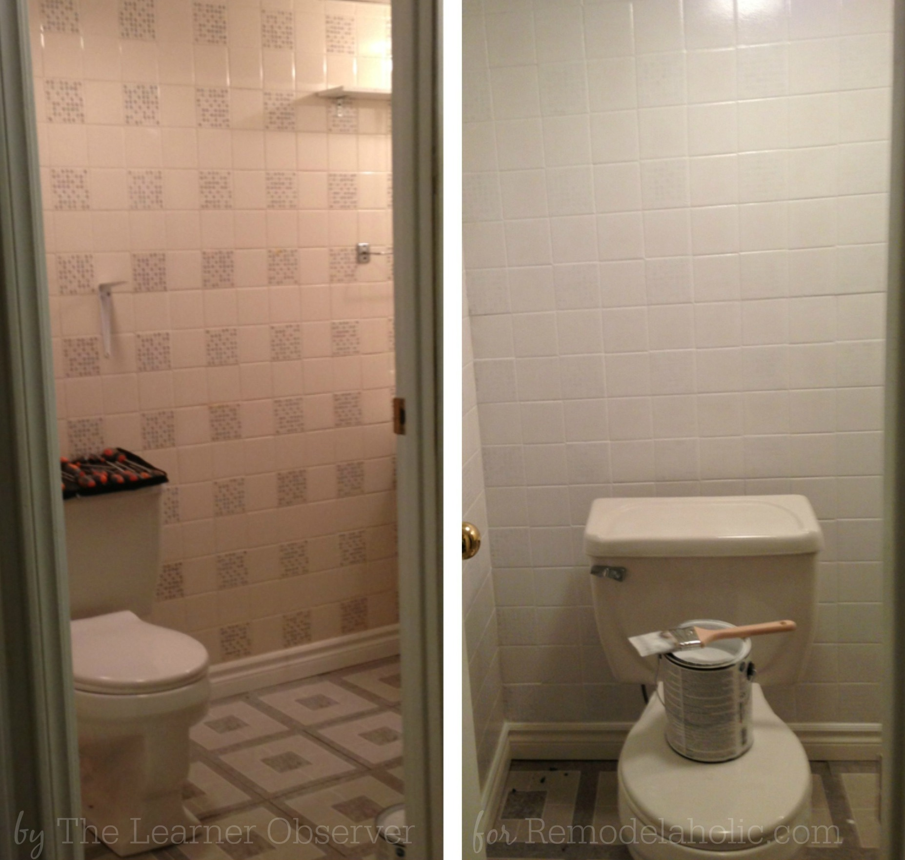 remodelaholic a 170 bathroom makeover with painted tile