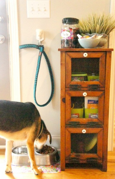 When you have pets they come with lots of extra supplies. From food, leashes, litter, to everything else in between it can get disorganized fast. Here are 9 Ideas for organizing your pet supplies from tipsaholic.com #pets #supplies #pet