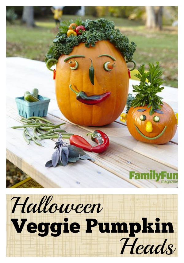 Pumpkins are a fun part of Halloween. They can be messy to carve, but don't have to be. Try a different approach this year to create Halloween Veggie Pumpkin Heads via @tipsaholic #pumpkins #pumpkin