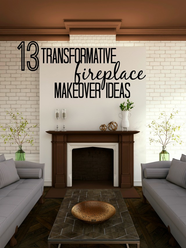 Remodelaholic 13 transformative fireplace makeover ideas - How to make a brick fireplace look modern ...