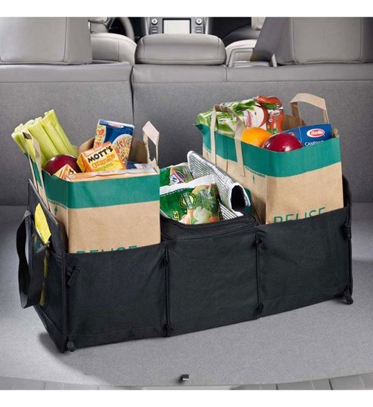 large canvas bin or tote in trunk
