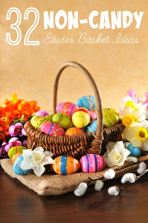 Want to reduce the amount of sweets that your kids get on Easter but still want to give them a fun basket? Check out these 32 non-candy Easter basket ideas! Non-Candy Easter Basket Ideas via tipsaholic.com #easter #eggs #basket #easterbasket