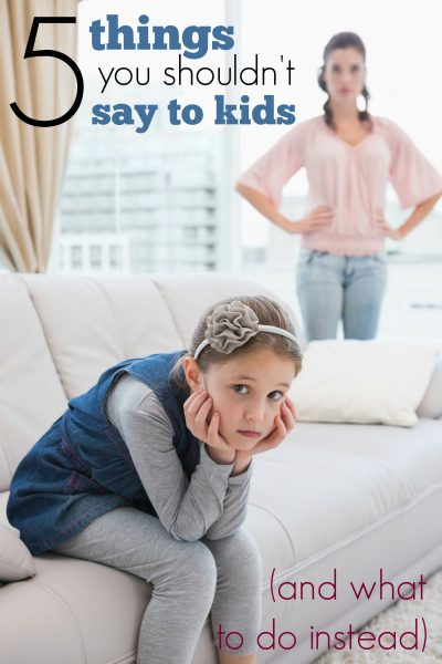 It is important to be careful of the words we use with children. Recognize these 5 things you shouldn't say to kids and learn what to say (or do) instead. 5 Things You Shouldn't Say to Kids (And What to Do Instead) ~ Tipsaholic.com #parenting #kids