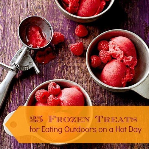 From yogurt treats to frozen fruit to ice cream, a slushie, or popsicle, click on one of the 25 frozen treats links, to get these easy recipes to make for your next day in the outdoors. 25 Frozen Treats for Eating Outdoors on a Hot Day via @tipsaholic #frozen #frozentreats #summer #summerfamilyactivities