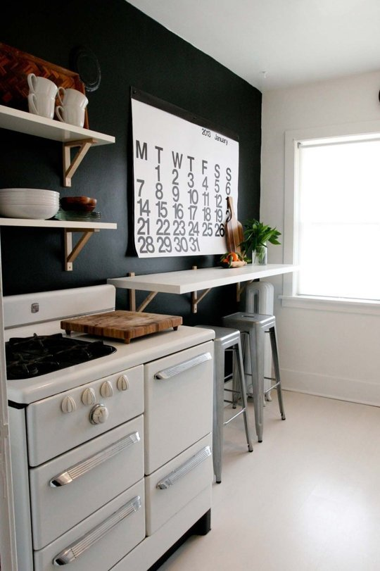 Remodelaholic decorating with black 13 ways to use dark for Black painted kitchen walls