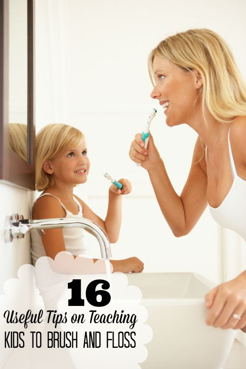 Some kids resist getting their teeth cleaned, which can be frustrating for parents. Try these tips on teaching kids to brush and floss! 16 Useful Tips on Teaching Kids to Brush and Floss at tipsaholic.com #flossing #floss #teeth #kids #brushing #teethbrushing