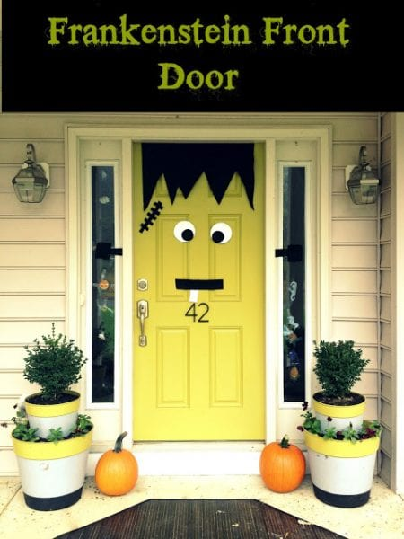 Frankenstein Front Door Decor Idea10 Genius Halloween Door Decor Ideas - Remodelaholic.com. #Halloween, #halloweendecor, #halloweenDIY, #doors, #doordecor