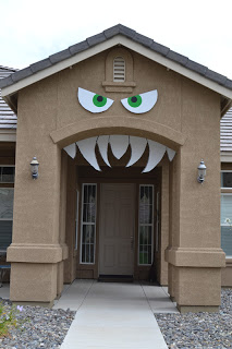 Fanged monster front door idea